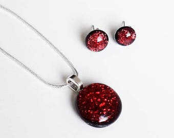 Cranberry red jewellery set, pendant and earrings in dark red and black dichroic glass with silver findings