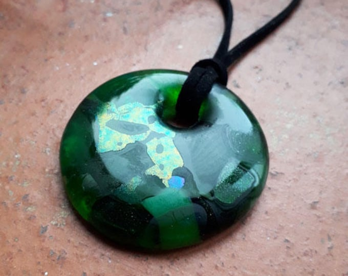 Green glass pendant, cast glass in unique mix of greens, dichroic and iridescent colours.