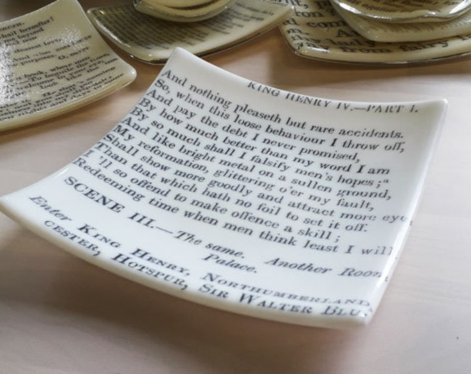 Shakespeare bowl - white fused glass dish with vintage printed text from Shakespeare's Henry IV Part 1