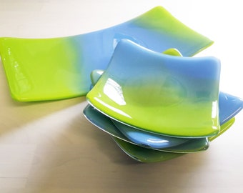 5 piece serving dish set in blue and green fused glass.
