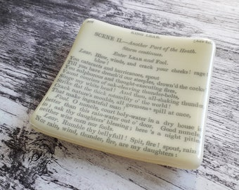 King Lear trinket dish, cream fused glass with text from antique copy of Shakespeare's King Lear