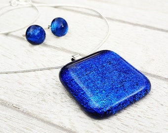 Jewellery set, blue dichroic fused glass pendant and earring set.