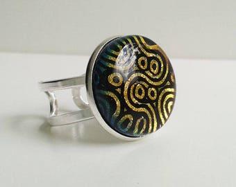 Dichroic glass ring, orange/gold spots & swirls pattern in fused glass