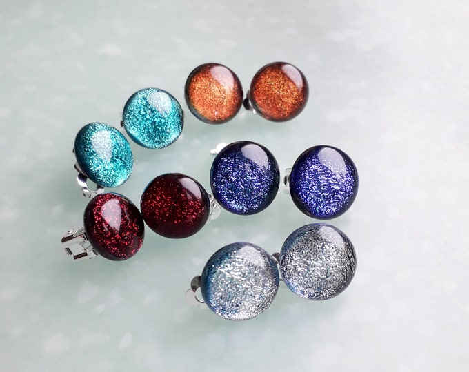 Clip on earrings in sparkly dichroic fused glass.