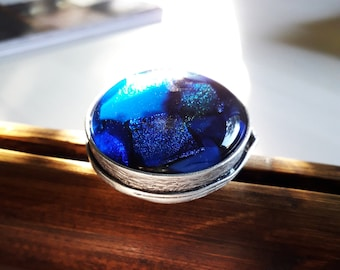 Statement ring, very large blue fused glass ring in an antique silver setting. Expandable ring.