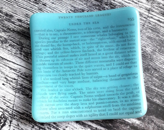 Trinket dish, 20000 Leagues Under the Sea print on fused glass.