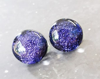 Clip-on fused glass earrings in cool purple dichroic glass