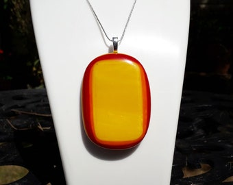 Large fused glass pendant, yellow, orange and red fused glass on silver. XL jewellery