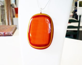 Fused glass pendant, bright orange, red & yellow glass XL giant size!