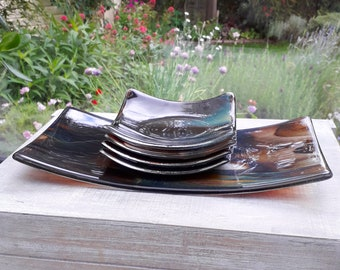 5 piece serving dish set in swirly brown and clear fused glass.