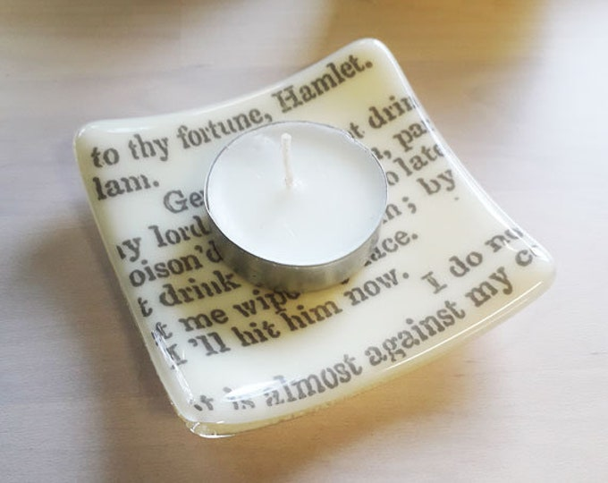 Hamlet trinket dish, cream coloured fused glass with vintage text from Shakespeare's Hamlet