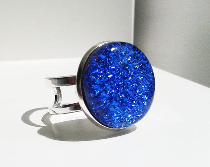 Blue dichroic ring, made from cobalt blue dichroic fused glass.