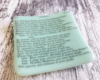 Othello trinket dish, green fused glass with text from antique copy of Shakespeare's Othello