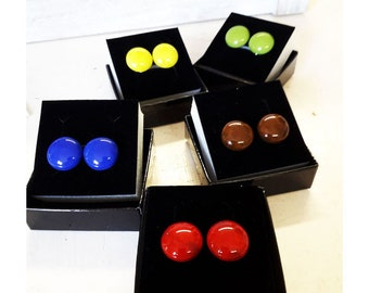 Clip-on earrings, fused glass in lots of colours