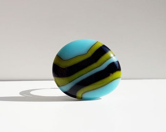 Fused glass ring - blue, green and black glass on a silver expandable ring.