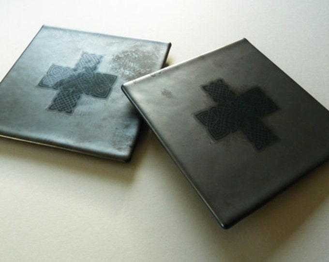 Fused glass coasters in blue grey black metallic pewter finish with celtic knotwork design