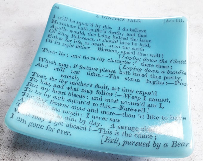 A Winter's Tale trinket dish, green fused glass with text from antique copy of Shakespeare's A Winter's Tale