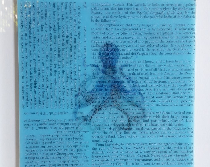 Glass art, 20000 Leagues Under The Sea by Jules Verne, on blue glass with octopus illustration