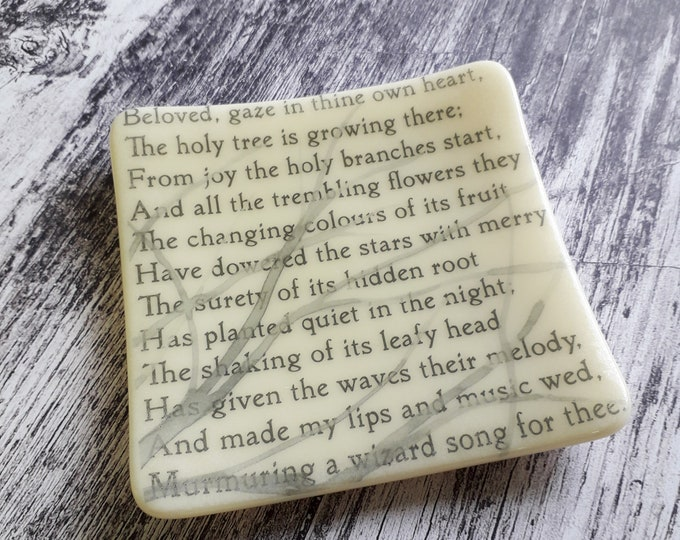 The Two Trees trinket dish, fused glass with text from WB Yeats and tree design