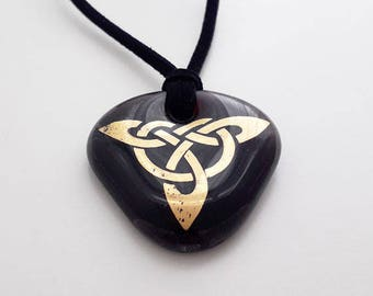 Celtic knotwork pendant, purple black fused glass with gold triangular knot pattern, metal-free