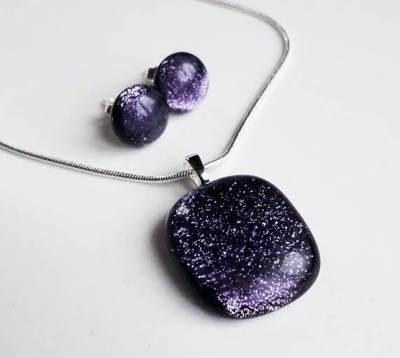 Chain Purple Dichroic Dangling Earring Unique Gift Set24 Purple Dichroic Glass Necklace Earring Set Purple Dichroic Pendant Earring Set