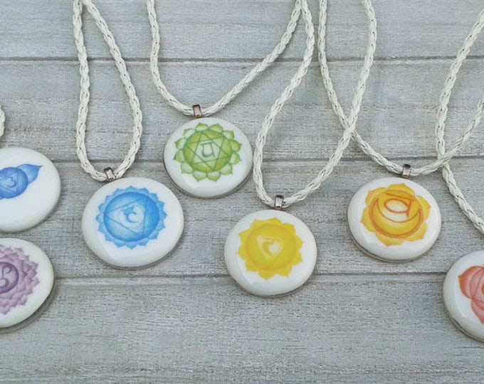 Chakra pendants - white glass pendants with colourful images of each chakra