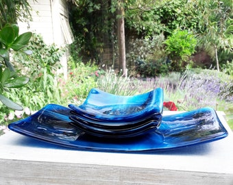 5 piece serving dish set in swirly blue and white fused glass.