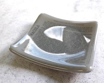 Dracula trinket dish in grey fused glass.