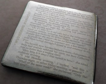 Wuthering Heights coaster, fused glass with text from the classic Bronte novel
