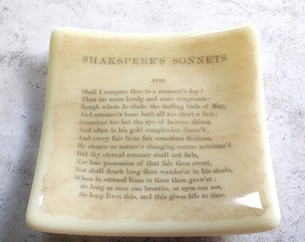 Sonnet XVIII trinket dish with print from an old edition of Shakespeare's Sonnets
