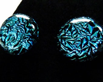 Blue and black dichroic fused glass earrings on sterling silver for pierced ears.