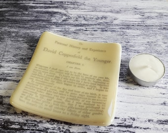 David Copperfield trinket dish, fused glass with text from Dickens' classic.