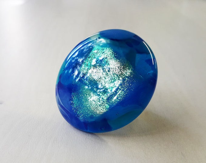 Cast glass ring in a mix of opaque, transparent & dichroic blue glass