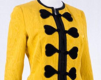 6893ee9d154263 Vintage Rena Lange Blazer - Gelb - Gr S - Baumwoll-Mix - Damen Blazer -  Herzmuster - 80s Vintage