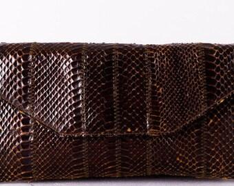 f89a3d62c9a5d Vintage Clutch - Leder Tasche Snake - 60s Handtasche - Damen - Braun -  Abendtasche - Damen Tasche - Ausgehtasche - 60 Design