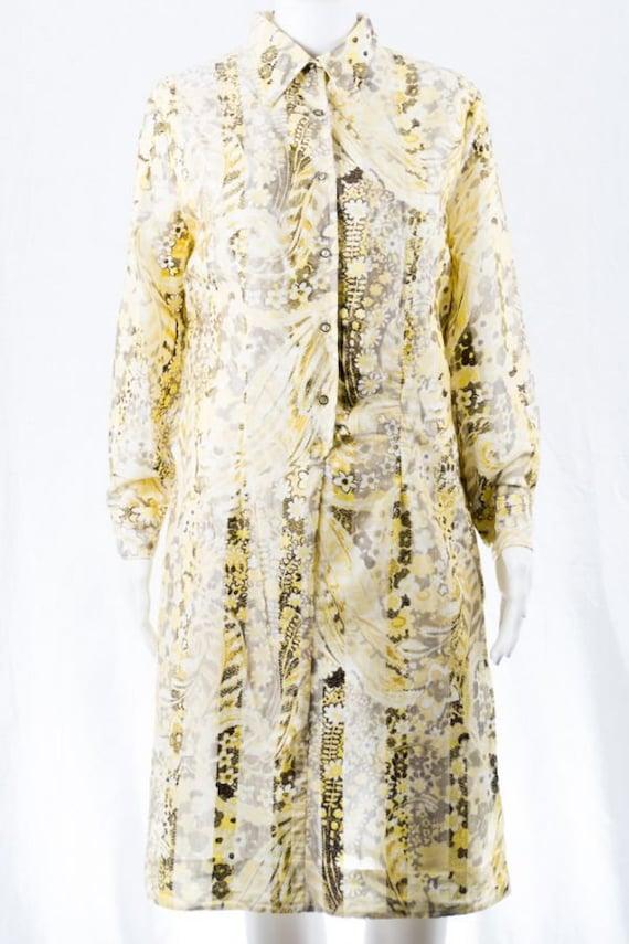 Vintage Pearl De Paris Dress -M- Pastel Print 60s