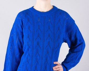 Blue Vintage knit sweater-80s jumper-long sweater-cozy-blue-casual-vintage sweatshirts-knitted jumper