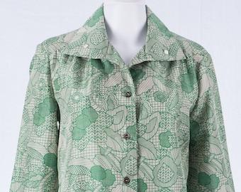 Vintage women's blouse of the 70s-L-Art print-hippie-long sleeve blouse-white-green-label Falke-Synthetic fibre mix