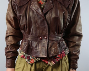 Vintage leather jacket with elaborate embroidery