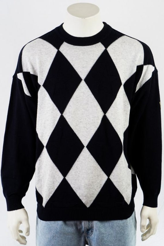 Carlo Colucci Vintage Pullover -L- Schwarz Weiß In