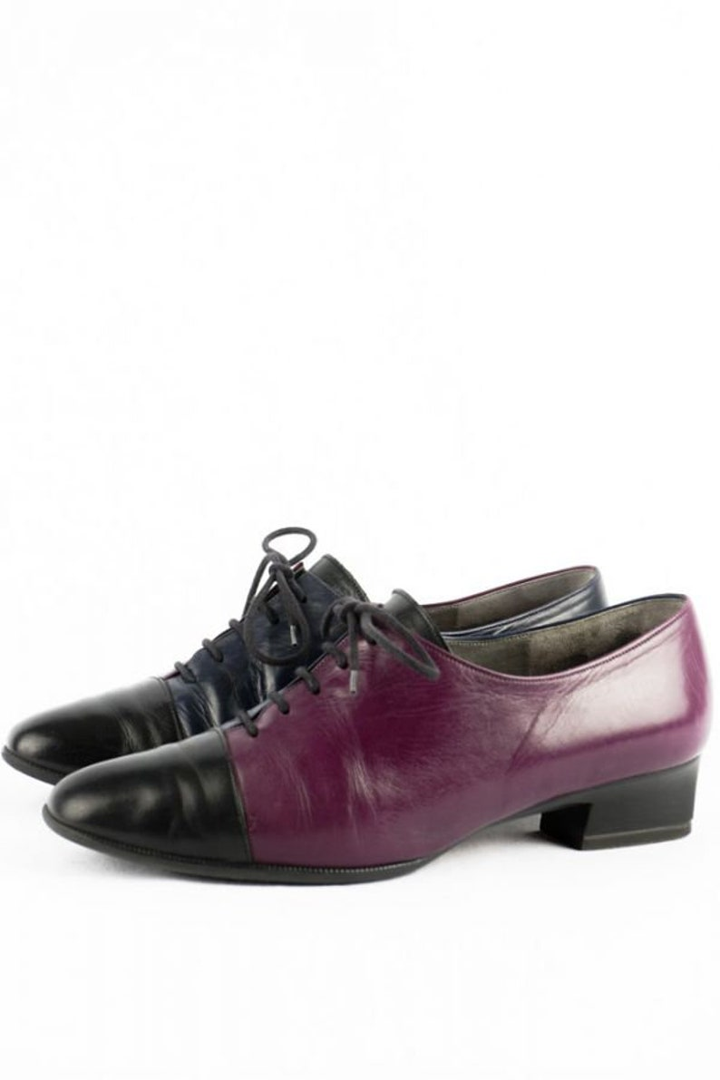 Vintage Lace-up Pumps 40 6.5 Gabor Leather Shoes Two Tone 80s