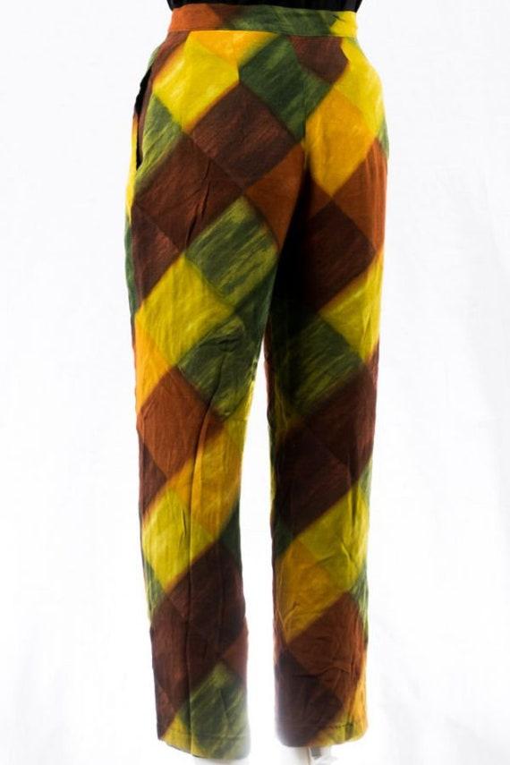 Vintage Pants -34- Silk Ethnic Print 70s Design B… - image 3
