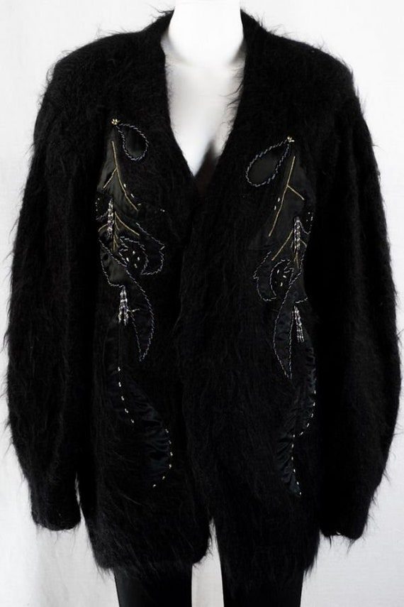Mohair Vintage Cardigan -One Size- Black Long Car… - image 3
