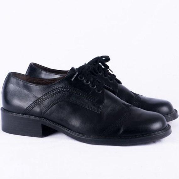 Vintage Shoes -45- Leather Black Lace-up Shoes 70s