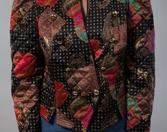 Vintage Quilted Jacket with silk - Cirque you vintage