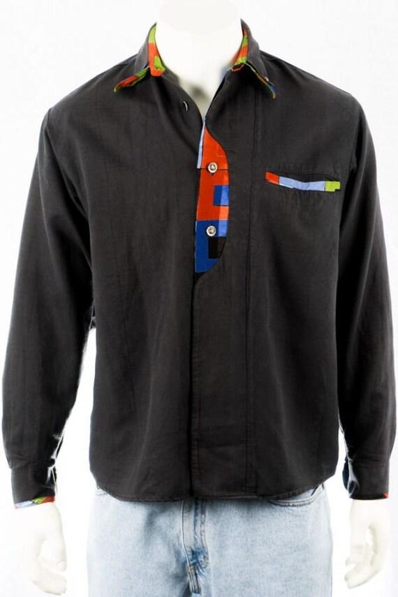 Vintage Shirt -S- Venicci Black Colorful Cotton 80