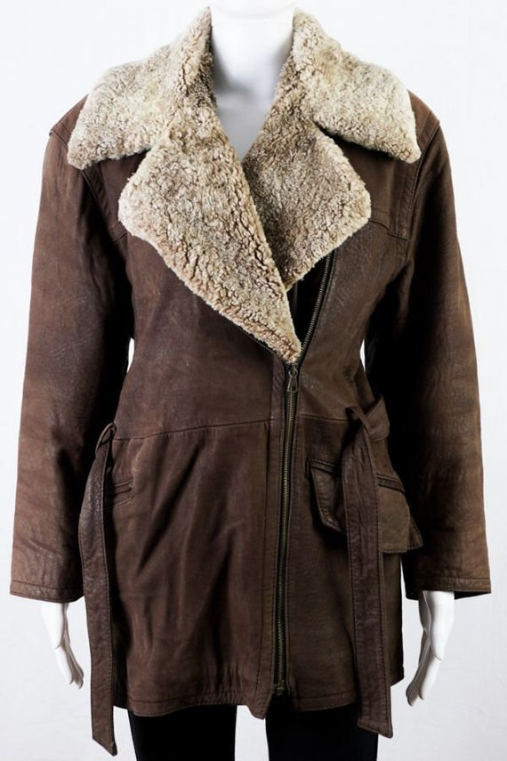 Vintage leather jacket with teddy collar -S- Brown