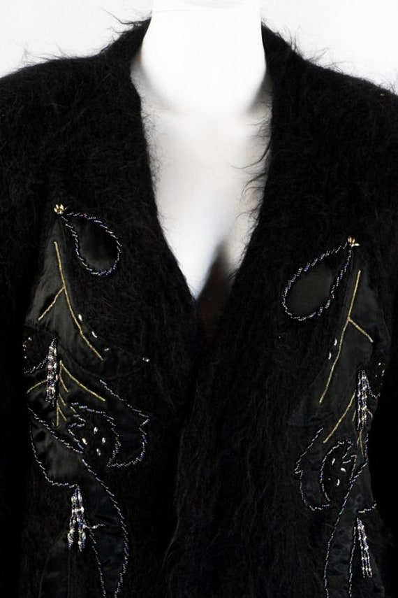 Mohair Vintage Cardigan -One Size- Black Long Car… - image 2