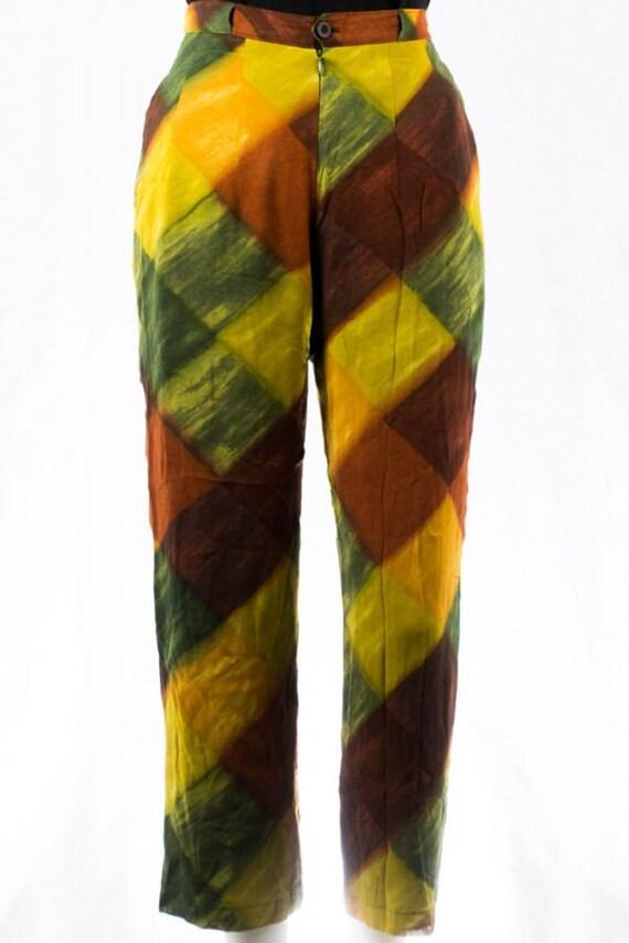Vintage Pants -34- Silk Ethnic Print 70s Design B… - image 1