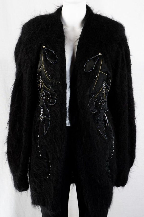 Mohair Vintage Cardigan -One Size- Black Long Car… - image 1